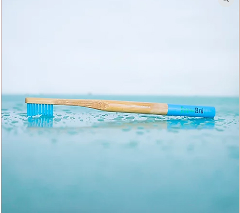 Blue Bamboo Toothbrush in water