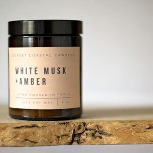 White Musk & Amber Soy Wax Scented Candle