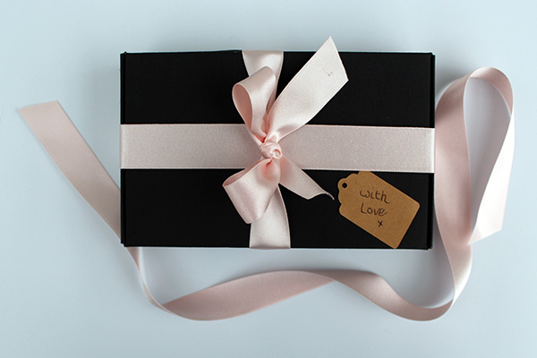 Birthday Present In Gift Box With Pink Ribbon